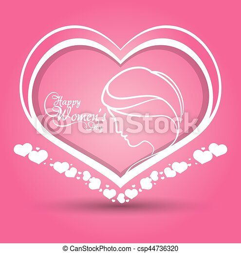 happy womens day heart girl pink background - csp44736320