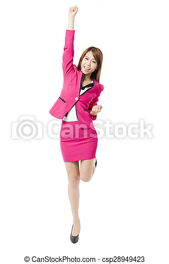 happy young business woman with arms up - csp28949423
