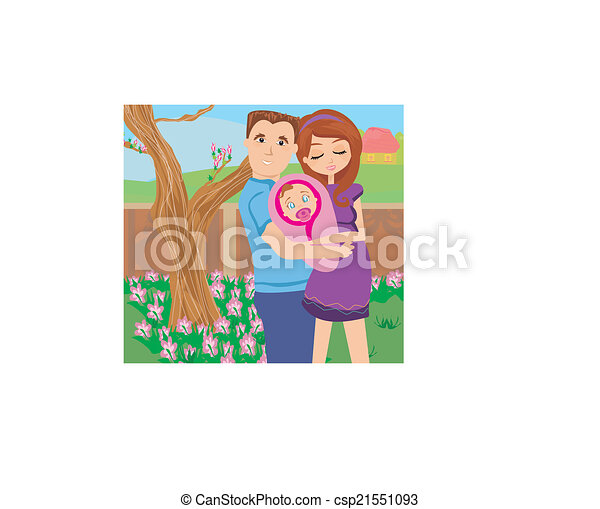 Happy Young Couple with Newborn Baby.  - csp21551093