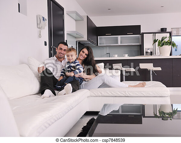 happy young family have fun  at home - csp7848539