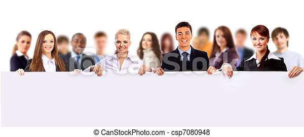 Happy young group of people standing together and holding a blank sign for your text - csp7080948