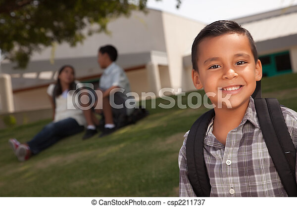Happy Young Hispanic Boy Ready for School - csp2211737