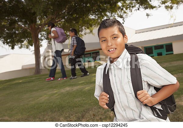Happy Young Hispanic Boy Ready for School - csp12294245