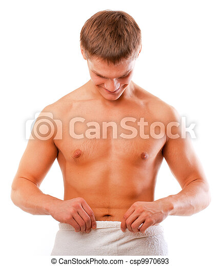 Happy young man looking at his penis isolated over white - csp9970693