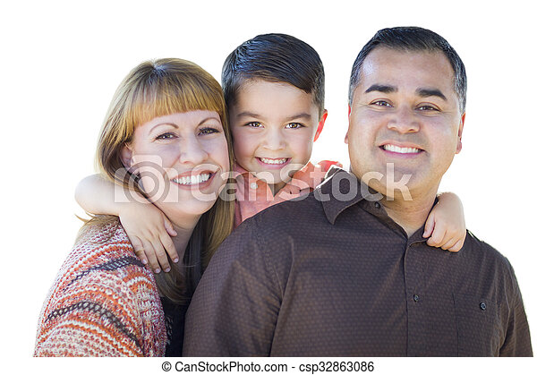 Happy Young Mixed Race Family Isolated on White - csp32863086