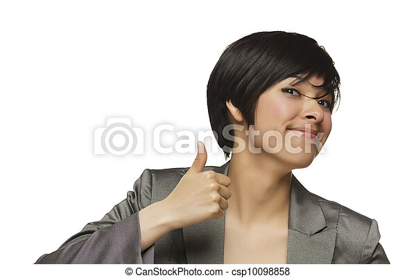 Happy Young Mixed Race Woman With Thumbs Up on White - csp10098858
