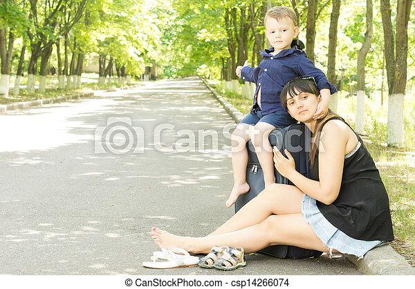 Happy young mother and son on vacation - csp14266074