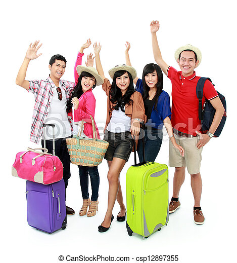 Happy young people on vacation - csp12897355