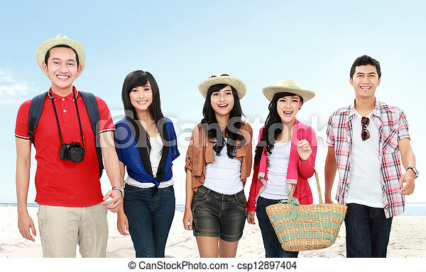 Happy young people on vacation - csp12897404