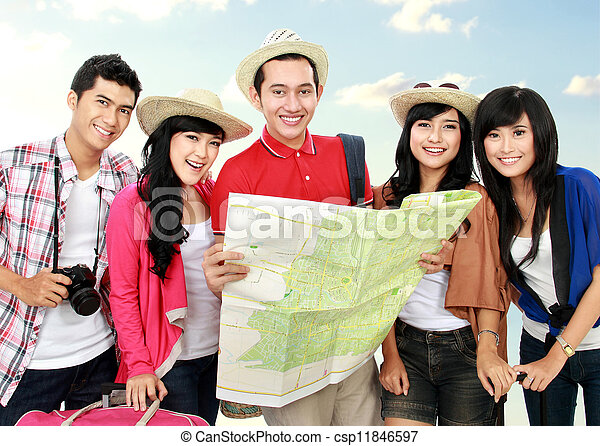 Happy young people tourists - csp11846597