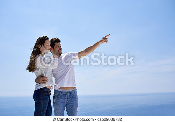 happy young romantic couple have fun and  relax at home - csp29036732