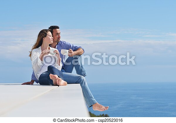 happy young romantic couple have fun relax - csp20523016