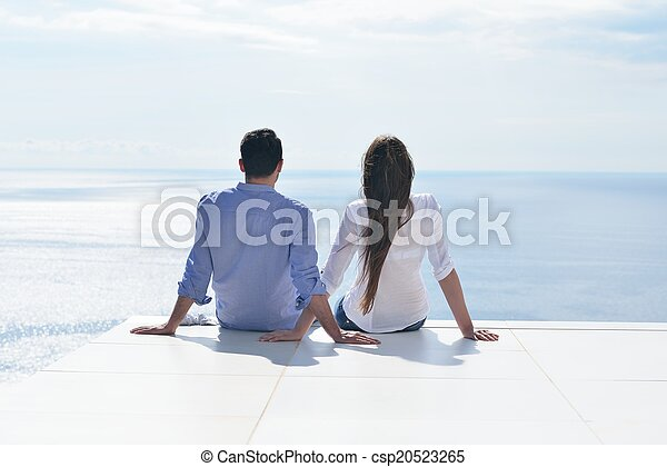 happy young romantic couple have fun relax - csp20523265