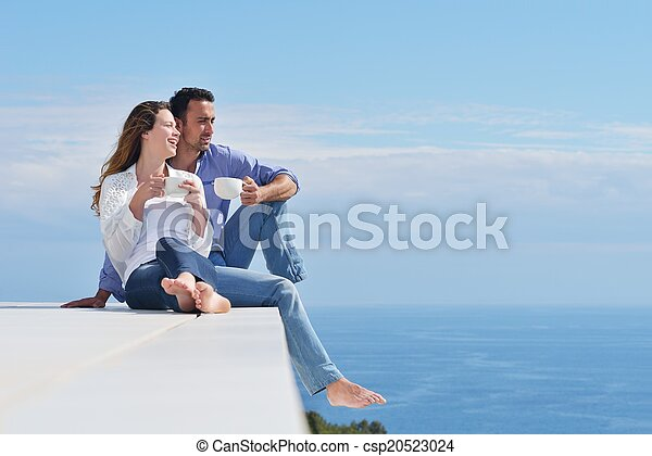 happy young romantic couple have fun relax - csp20523024