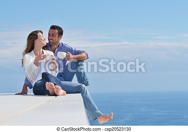 happy young romantic couple have fun relax - csp20523130