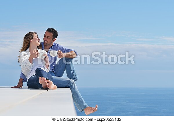 happy young romantic couple have fun relax - csp20523132