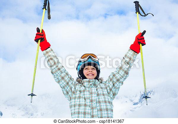 Happy young skier - csp18141367