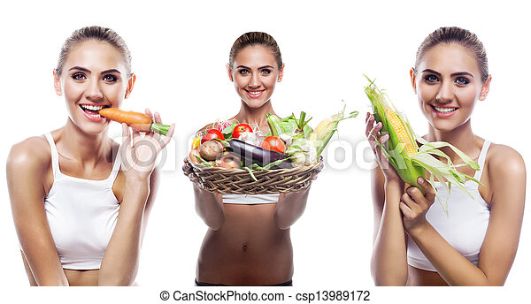 Happy young woman holding basket with vegetable. Concept vegetarian dieting - healthy food - csp13989172