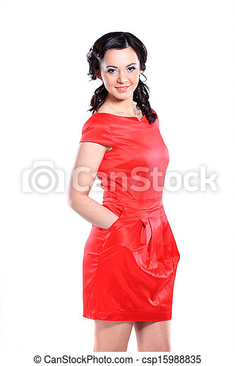 Happy young woman in red dress. - csp15988835