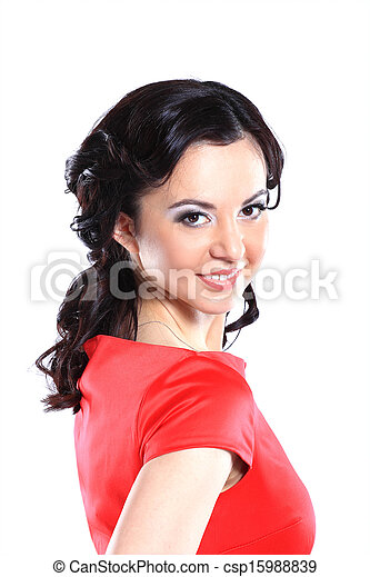 Happy young woman in red dress - csp15988839