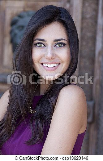 Happy young woman. Outdoor portrait - csp13620146