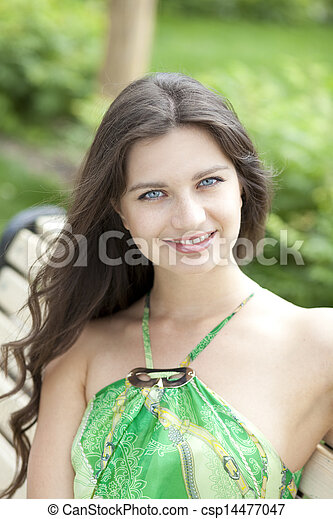Happy young woman. Outdoor portrait - csp14477047