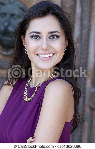 Happy young woman. Outdoor portrait - csp13620096