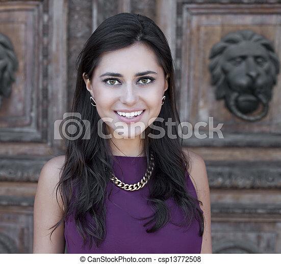Happy young woman. Outdoor portrait - csp13772508
