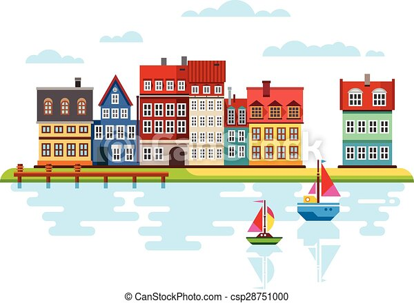 Harbor Waterfront with Boats on River - csp28751000