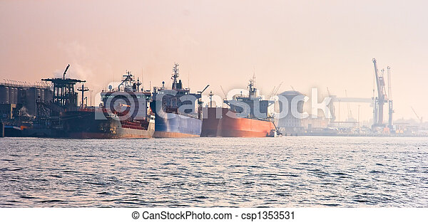 Harbour with tankers - csp1353531