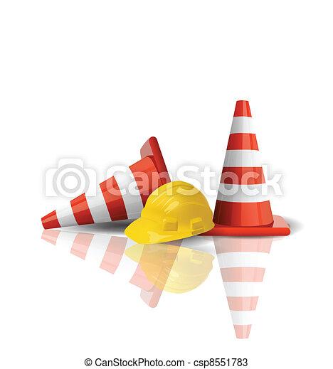 Hard cap with traffic cones isolated - csp8551783