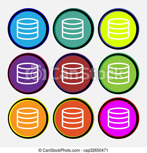 Hard disk and database icon sign  Nine multi-colored round buttons