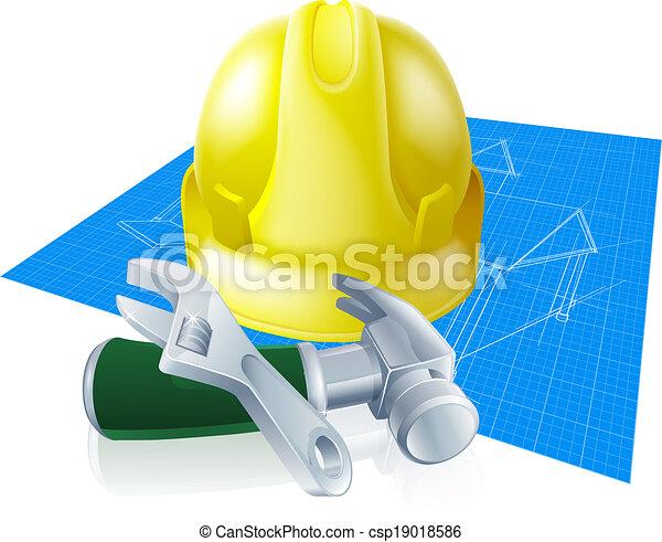 Hard hat tools and blueprint - csp19018586