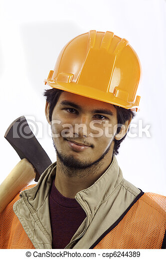 hard hat worker with an axe - csp6244389
