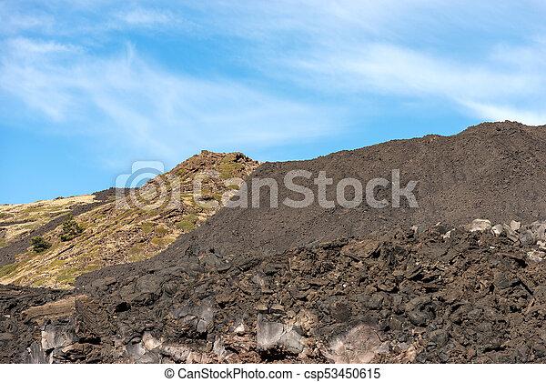Hardened Lava Flow - Etna Volcano Sicily Italy - csp53450615