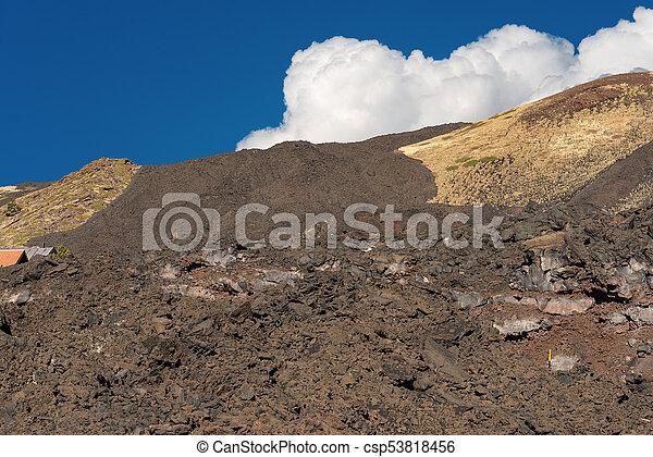 Hardened Lava Flow - Etna Volcano Sicily Italy - csp53818456