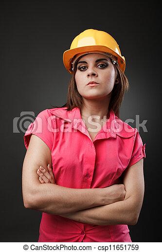 hardhat, senhora, jovem, engenheiro - csp11651759