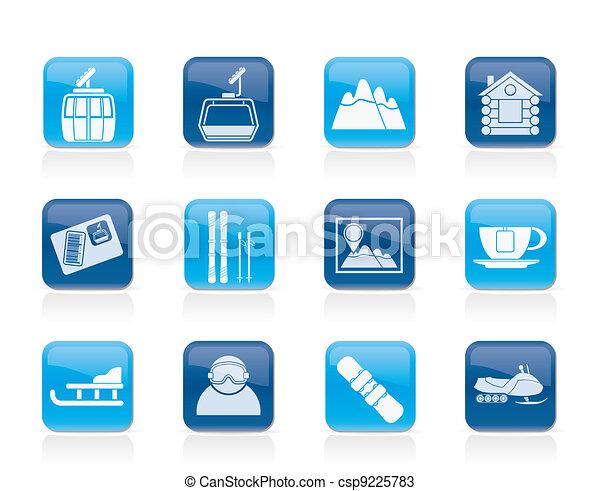 hardloop wedstrijd, sportende, ski, iconen - csp9225783