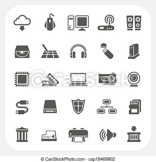 hardware, computador, jogo, ícones - csp18469902