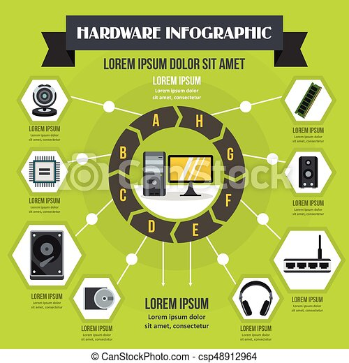 Hardware infographic concept, flat style - csp48912964