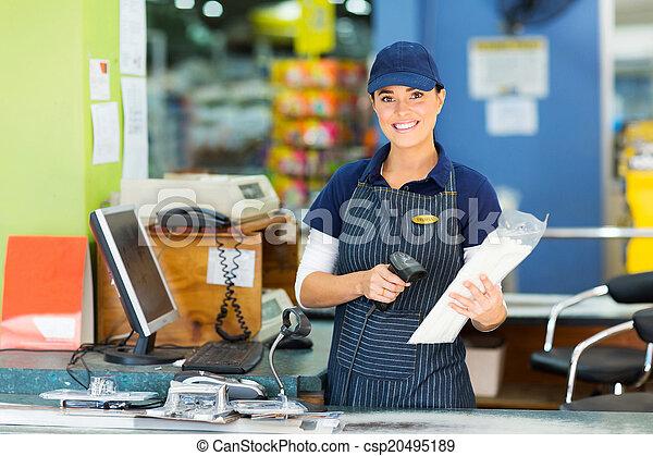 hardware, kassierer, weibliche , kaufmannsladen - csp20495189