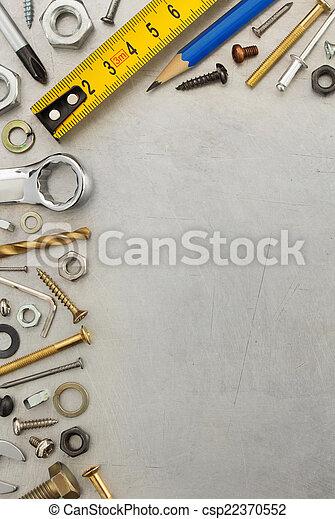 hardware, werkzeuge, metall, hintergrund - csp22370552