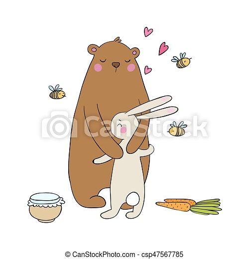 hare., mel, pote, cenouras, isolado, bees., animals., experiência., objetos, urso, branca, encantador, caricatura, feliz - csp47567785