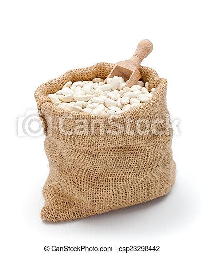 Haricot beans in burlap bag - csp23298442