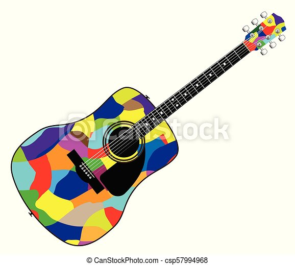 Harlequin Patchwork Acoustic Guitar A Typical Acoustic Guitar