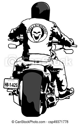 harley davidson and rider black and white illustration vector rh canstockphoto com clipart harley davidson motorcycle harley clip art free