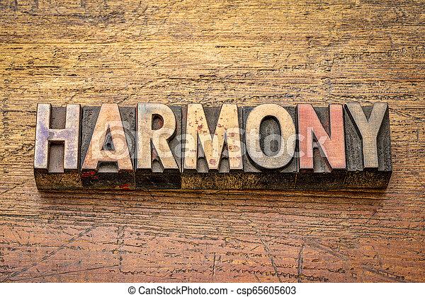 harmony word in letterpress wood type - csp65605603