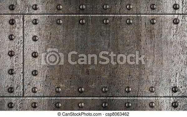 harnas, metaal, klinknagelen, achtergrond - csp8063462