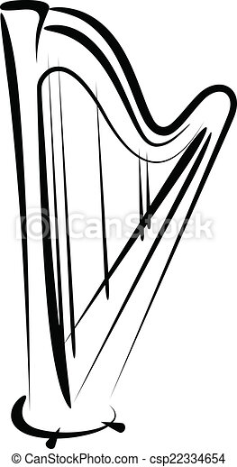 simple vector illustration of a harp sketch clipart vector search rh canstockphoto com harp clipart black and white harp clipart black and white