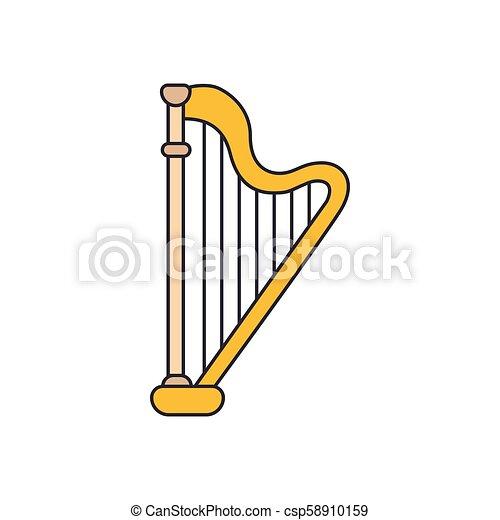 Harp icon, cartoon style - csp58910159